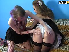 Russian lesbian whores fire up the hottest sex party!
