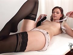 Kami in old school lingerie gets naughty