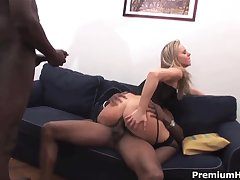 Blonde Candra in lingerie rides on monster cock