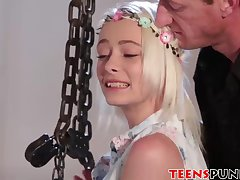 Tiny blonde teenie Maddy Rose tied up and slammed hard